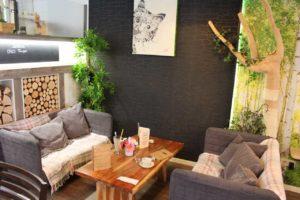 Eine gemütliche Sitzecke mit zwei Sofas im Katzencafé.