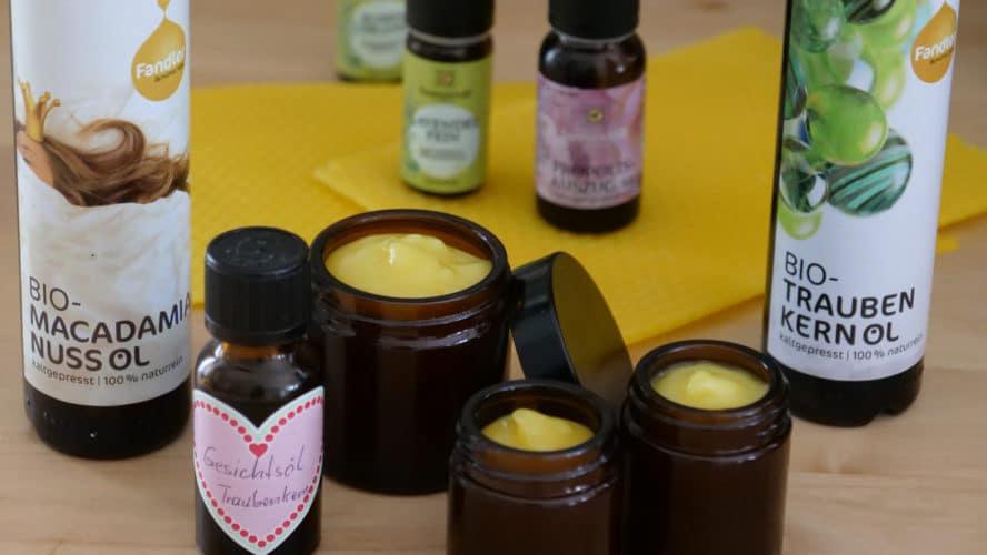 Selbstgemachte Körper- und Gesichtspflege mit Ölen und Bienenwachs.
