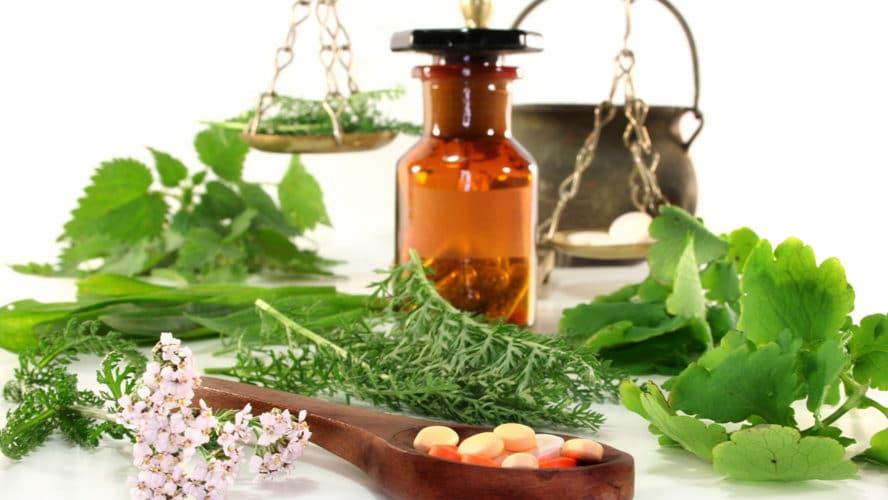 Auf dem Bild sieht man Kräuter, Pflanzenessenzen und homöopathische Tabletten, die zur natürlichen Behandlung von Pilzinfektionen eingesetzt werden.