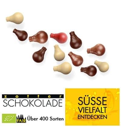 Zotter Schokolade Glühbirnchen