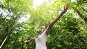 Eine Frau im Wald beim Waldbaden Shinrin Yoga