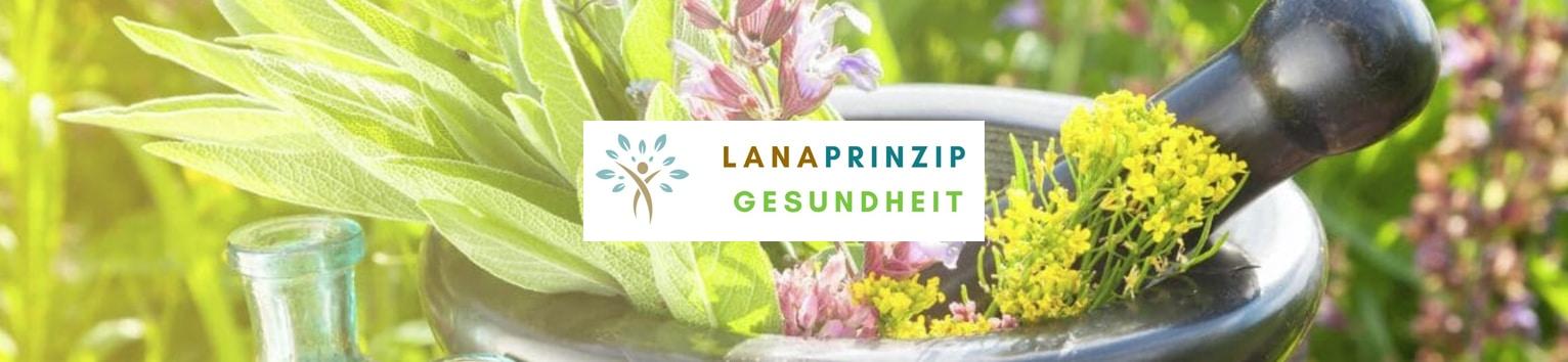Lanaprinzip Gesundheit Banner mit einem Mörser und Kräutern