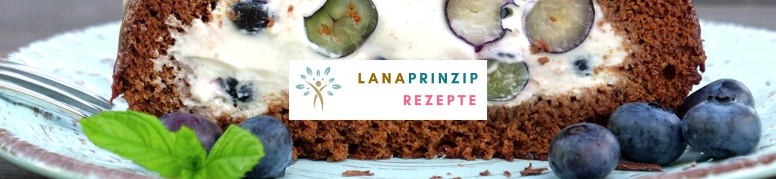 Lanaprinzip Rezepte Banner mit einem Kuchen im Hintergrund